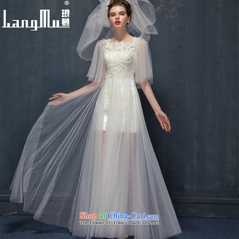 The new 2015 Luang in summer and autumn Silk flower buds wedding removable drift yarn translucent petticoats shoulders bride wedding m White?M