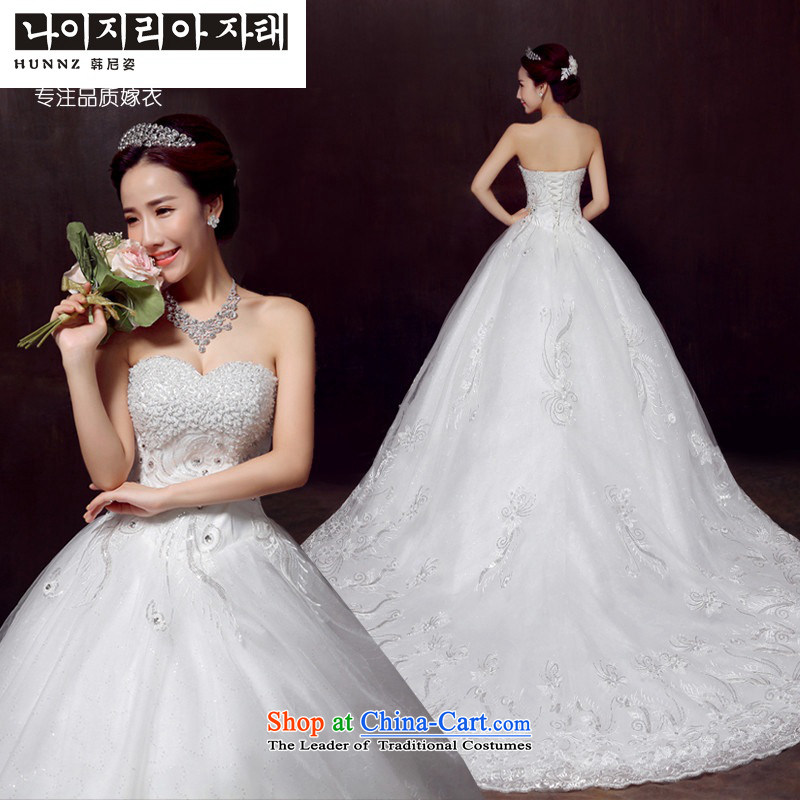 2015 new stylish HUNNZ spring and summer marriages white wedding anointed chest lace long tail strap white?M