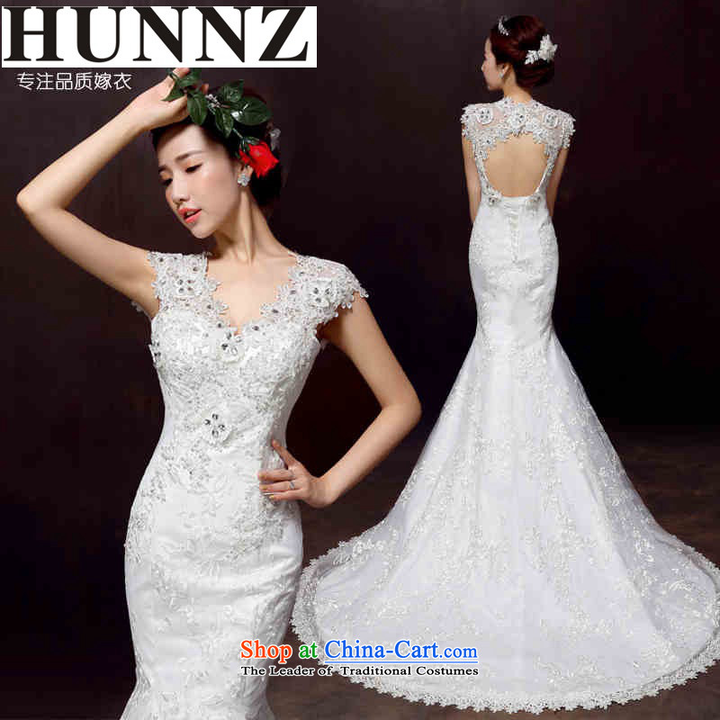 The new 2015 HUNNZ spring and summer large stylish and simple crowsfoot elegant lace Foutune of marriages wedding White?XL