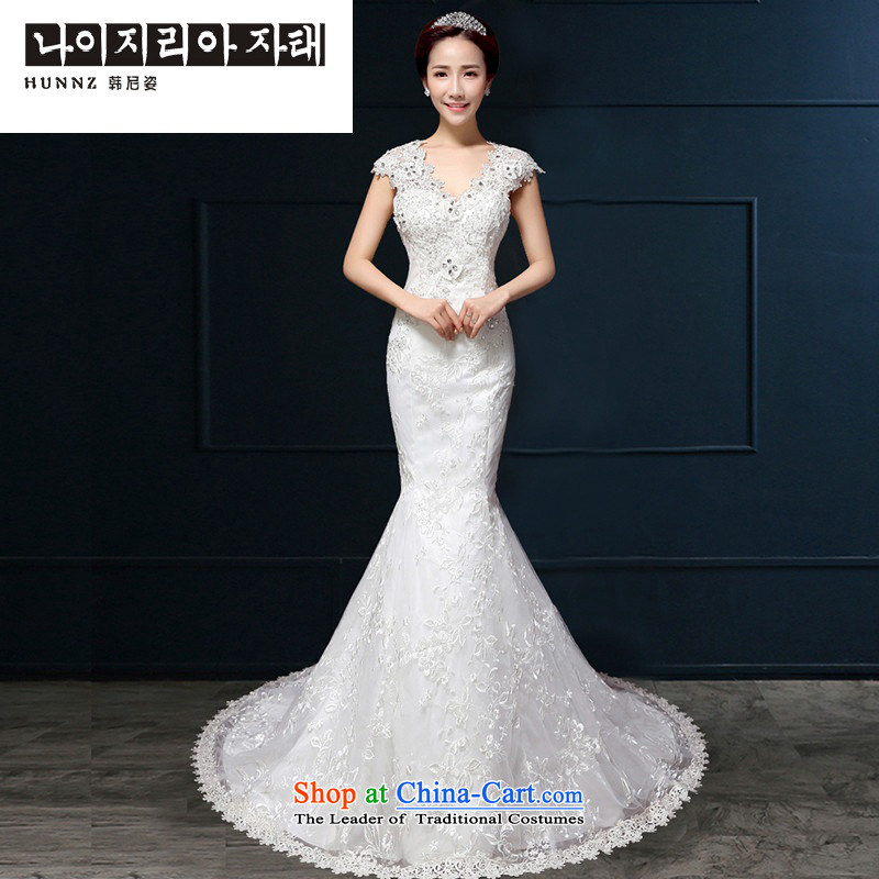 The spring and summer of 2015 New HANNIZI) crowsfoot elegant Foutune of V-Neck lace larger bride wedding white white M