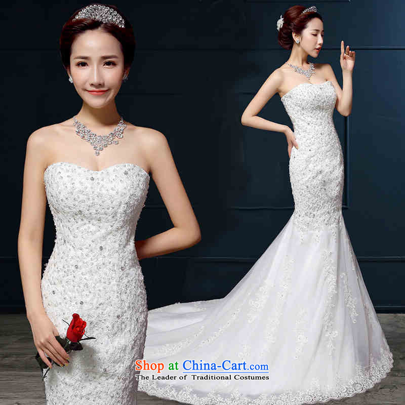 Hannizi      �bride wedding white 2015 new spring and summer tail, wipe the chest lace elegant wedding White�XXL