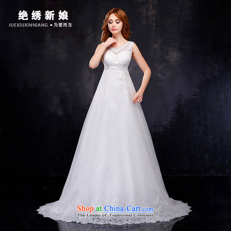 Embroidered is by no means?new 2 2015 bride shoulder larger lace marriage tail wedding dresses white?L