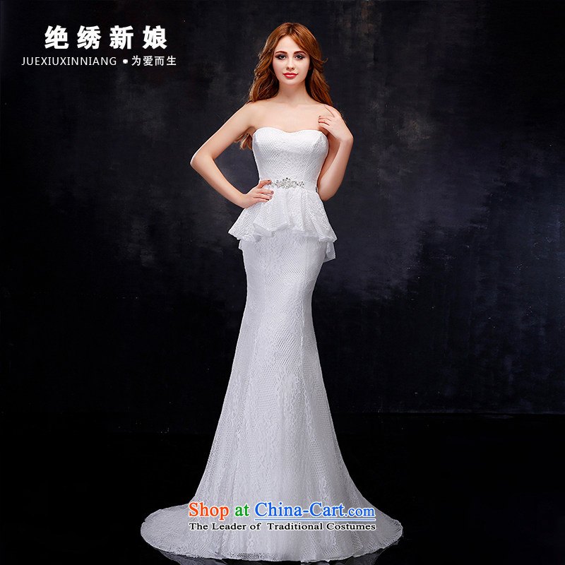 No聽new 2015 bride embroidered wedding dress luxury lace anointed chest pocket inbox and Korean style crowsfoot tail Sau San wedding dresses white聽S