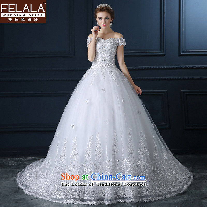 The word of Ferrara shoulder tail wedding dresses lace drill 2015 Sau San Korean style graphics large thin MM autumn wedding to align the?1 m tail?S(1 gauge 9