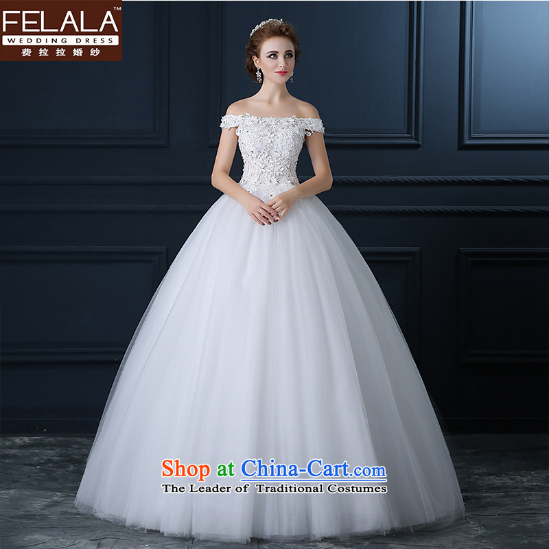 Ferrara autumn wedding dress bride slotted shoulder continental New lace wedding Ms. white marriage code Sau San Align to align bon bon skirt land XL_2 feet 2_