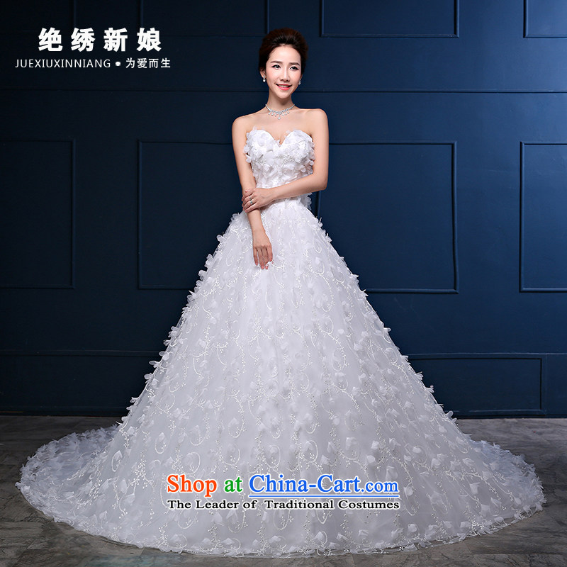 Embroidered is the�new Korean brides 2015 version of flowers and chest long tail large graphics thin marriages minimalist white wedding tailored does not allow