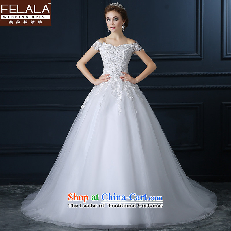 Ferrara?autumn 2015 wedding dresses bride first field shoulder lace wedding new large white women married to Sau San to align bon bon skirt?S(1 feet 9)