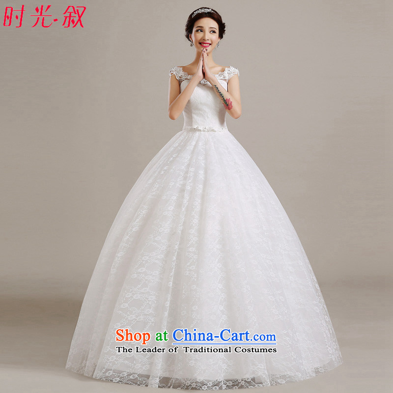 Korea wedding dress wedding dress 2015 new autumn and winter white bride first field shoulder of custom video thin Korea pregnant women version of large numbers to align the white聽L