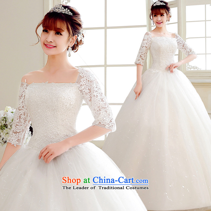 The Syrian brides word time shoulder Japan _ Korea wedding dress 2015 long-sleeved wedding dresses lace Korean Sau San video to align the thin Foutune of autumn and winter White?XXL