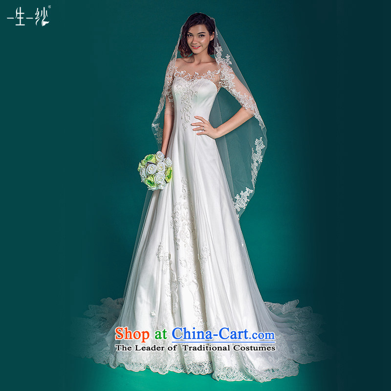 A lifetime of long-sleeved wedding star beauty of the same word shoulder lace tail wedding?autumn 2015?501501433??30 Day White 155_80A pre-sale