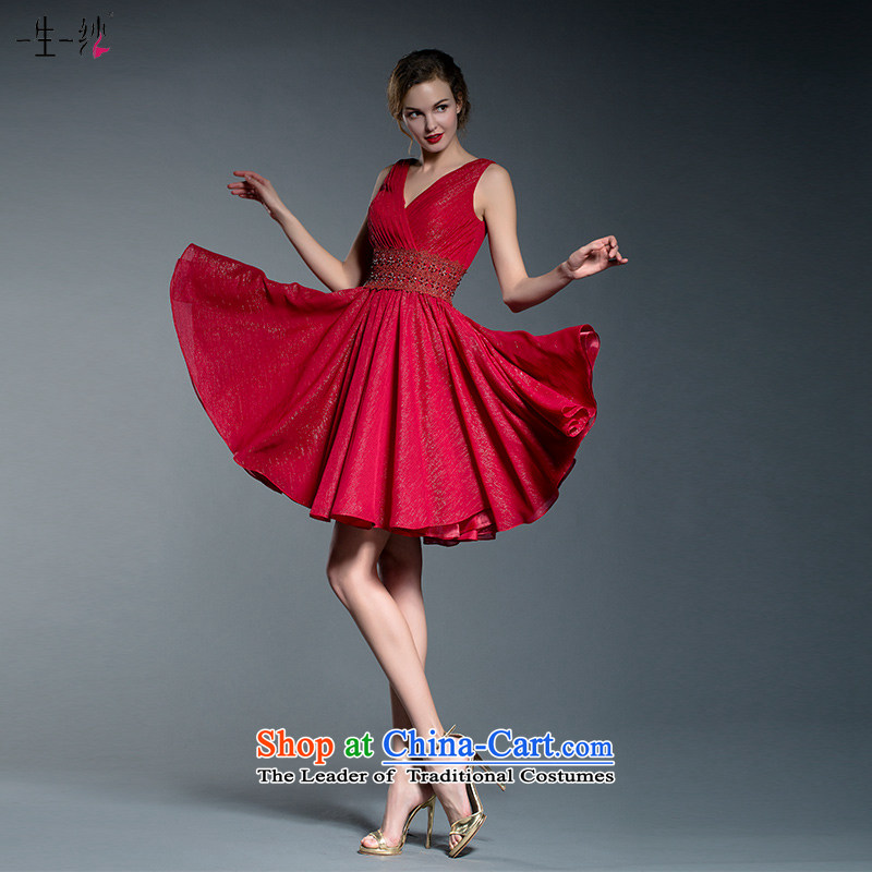 2015 new bride short of bows services fall?V-Neck shoulders wedding banquet small dress dresses?402201242??160_84A red thirtieth day pre-sale