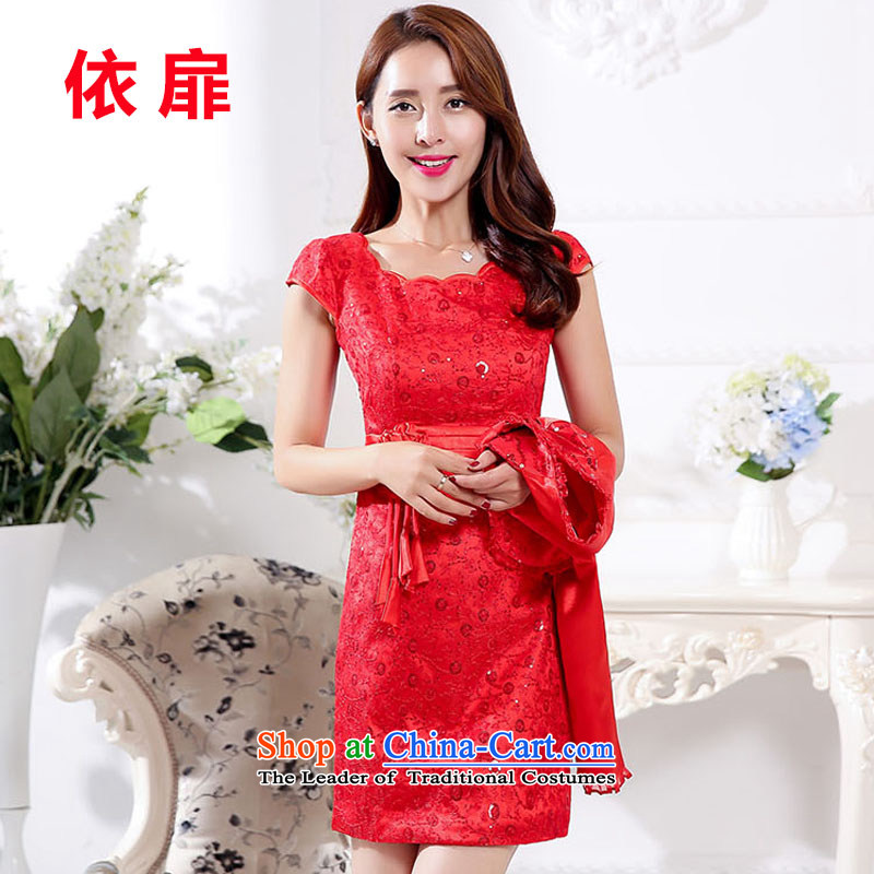 In accordance with the stylish new paragraph 2015 because the bride wedding dresses two kits red wedding dress wedding dresses red?XL