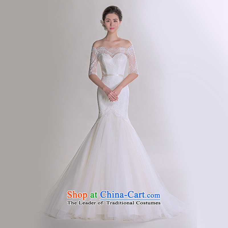 A lifetime of 2015 autumn the new Korean word lace shoulder and chest crowsfoot Sau San video thin advanced customization wedding 401501323 30 Day White 175/96A pre-sale