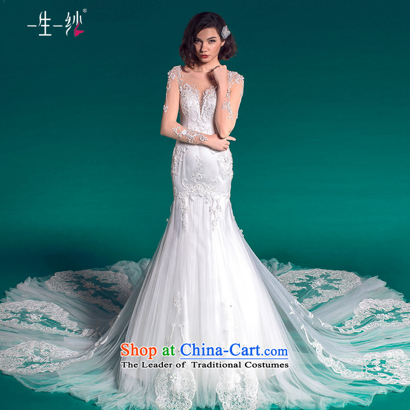 A lifetime of a crowsfoot wedding tail?autumn 2015 long-sleeved wedding package shoulder photo building theme wedding?50150007??180/100A white thirtieth day pre-sale