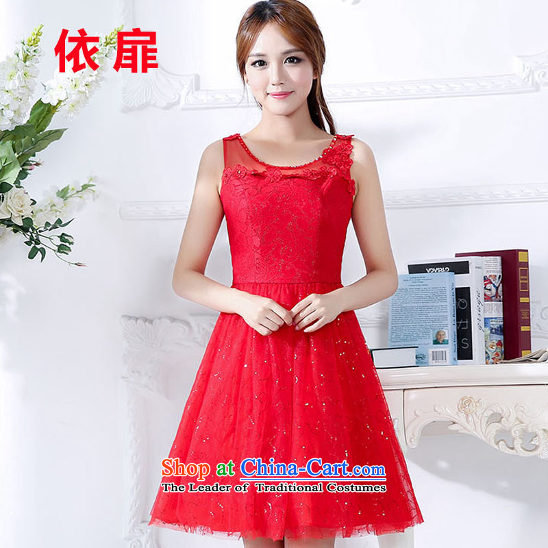 In accordance with the new spring and autumn 2015 check large red bride replacing pregnant women married to skirt the lift mast bows dress Red Dress Sau San two kits red L