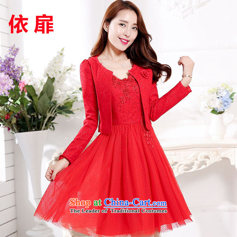 In accordance with the check spring and fall 2015 Red bride replacing dresses summer marriage the lift mast bows bridesmaid dress lace kit skirt two kits red?XXL