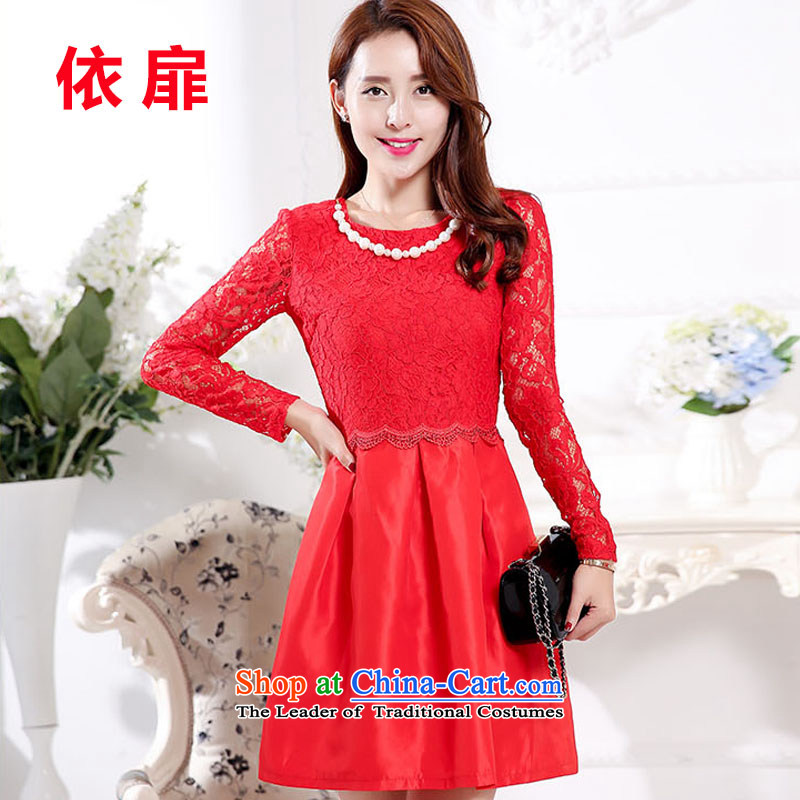 In accordance with the 2015 autumn stylish lonesome cottage dresses temperament lace hook flower engraving red elegant creases dress dresses female?1598?Red?XL