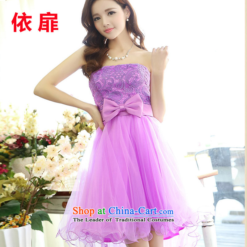 According to the red short, check bon bon skirt upscale dinner dress bride anointed chest bows services bridesmaid dress small dress 520D PURPLE?S