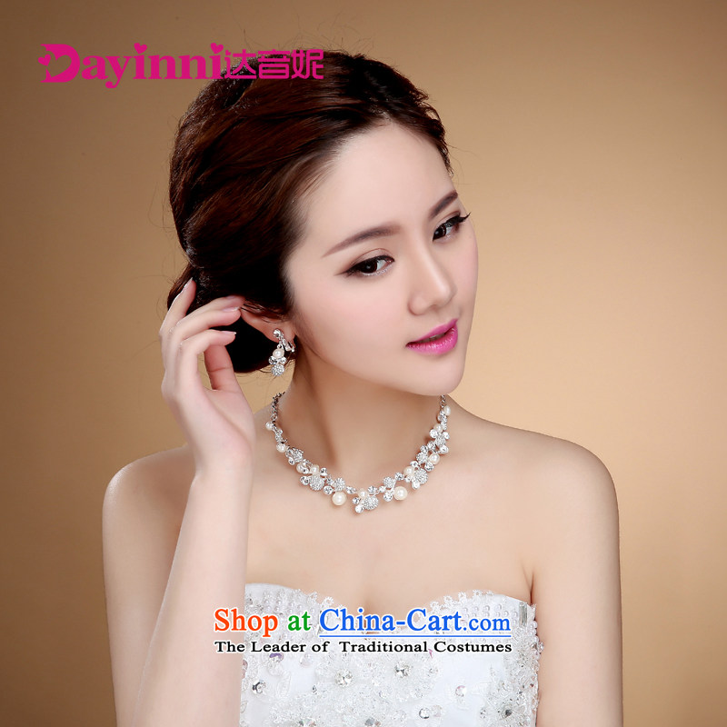 Korean-style water drilling bride necklace earrings II kit Korean wedding accessories marriage Jewelry Ornaments聽I