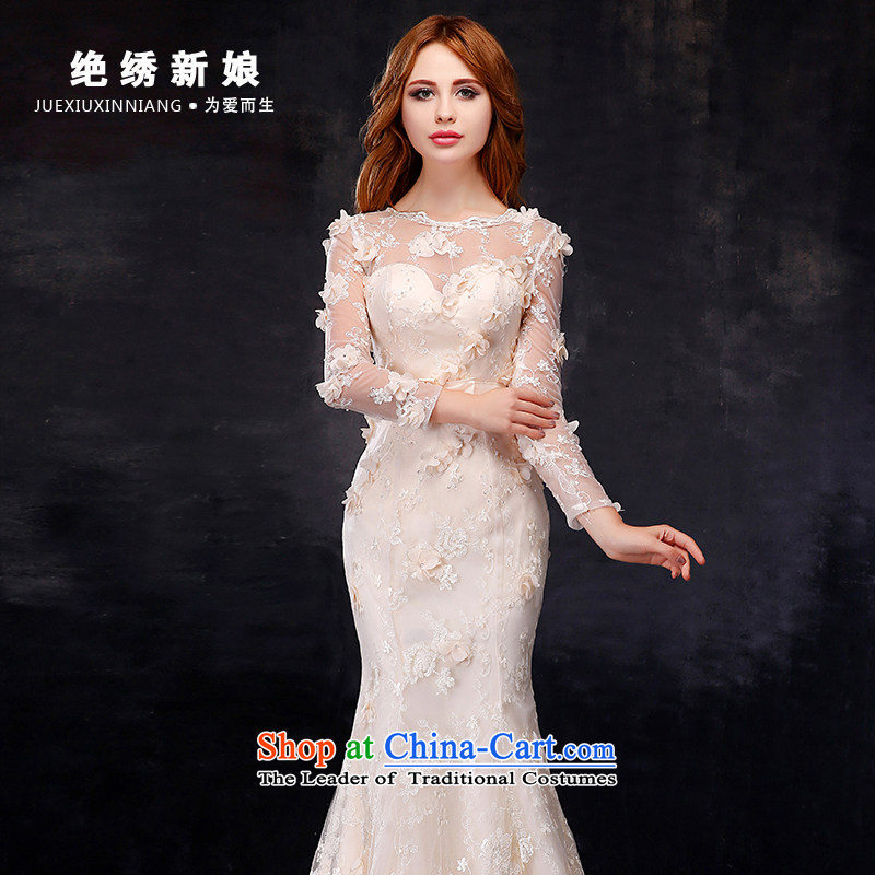 Embroidered is the?new Korean brides 2015-dimensional flowers shoulders crowsfoot champagne color wedding dresses in the main picture style?XL