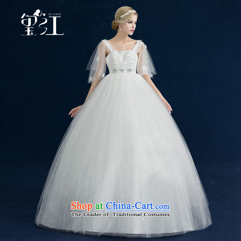 Seal Jiang pregnant women high wedding dresses waist 2015 autumn and winter new Korean style to align graphics thin large word shoulder bride wedding dress female White聽XL