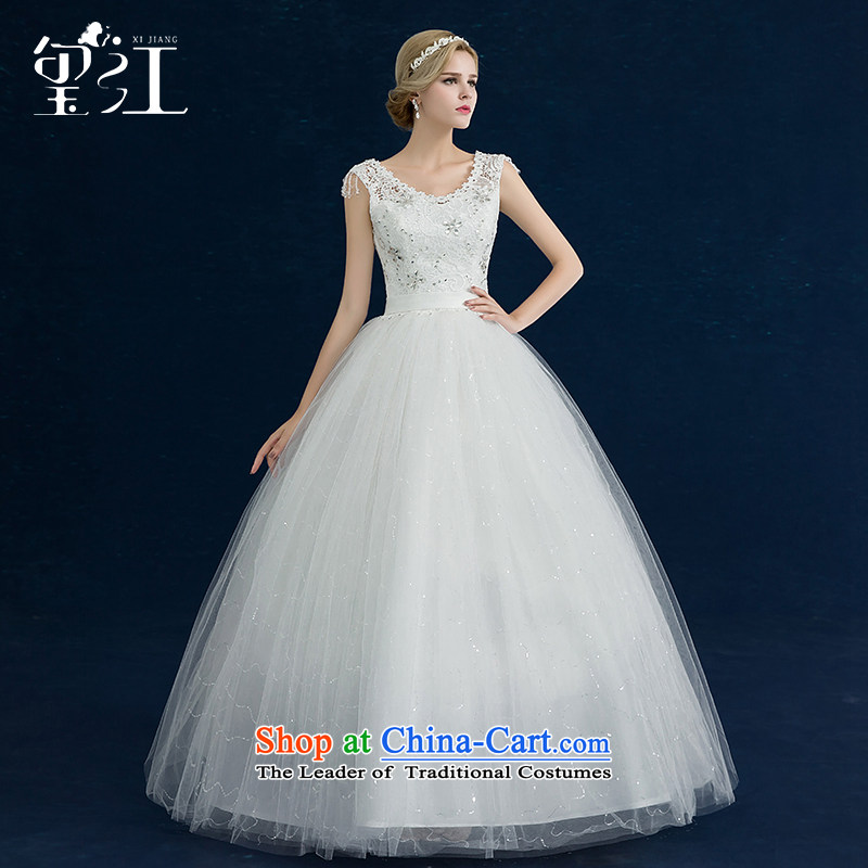 Jiang wedding dresses seal 2015 winter new Korean brides wedding dress white shoulders to align the large Sau San tie wedding dress female white S