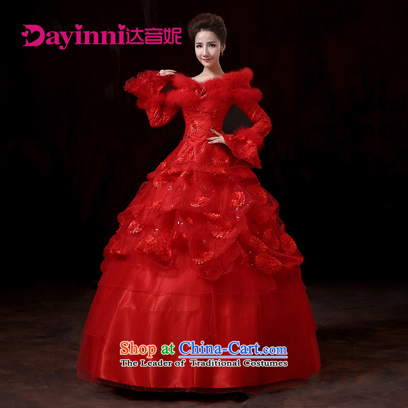 Winter, wedding dresses new 2015 winter red lace a long-sleeved thickened shoulder field wedding bride to align the red?XL