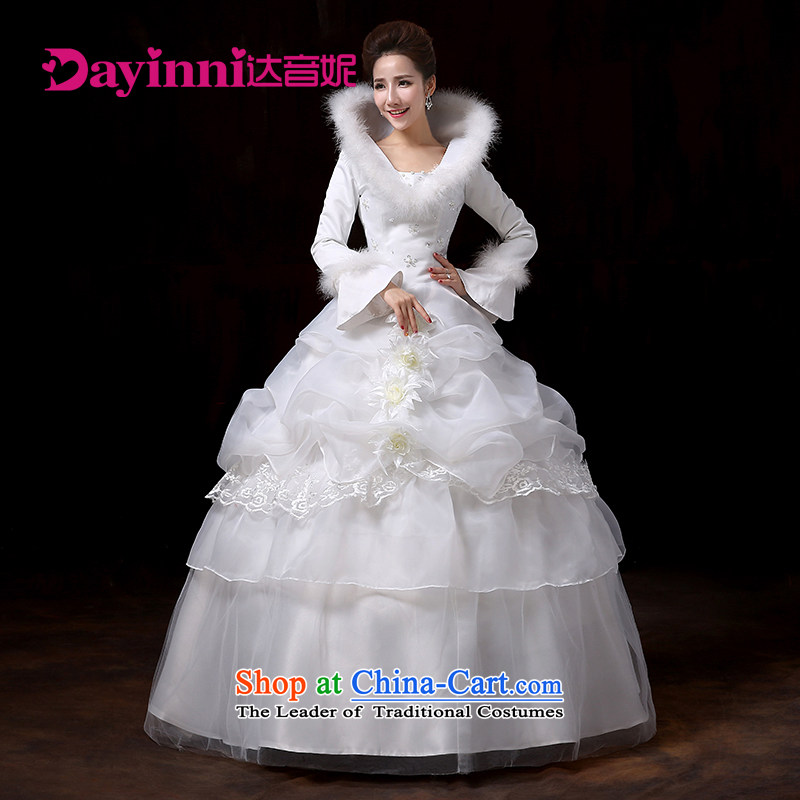 Wedding dress 2015 new winter thick align to bon bon skirt wedding marriages long-sleeved plus cotton wedding White�XXL