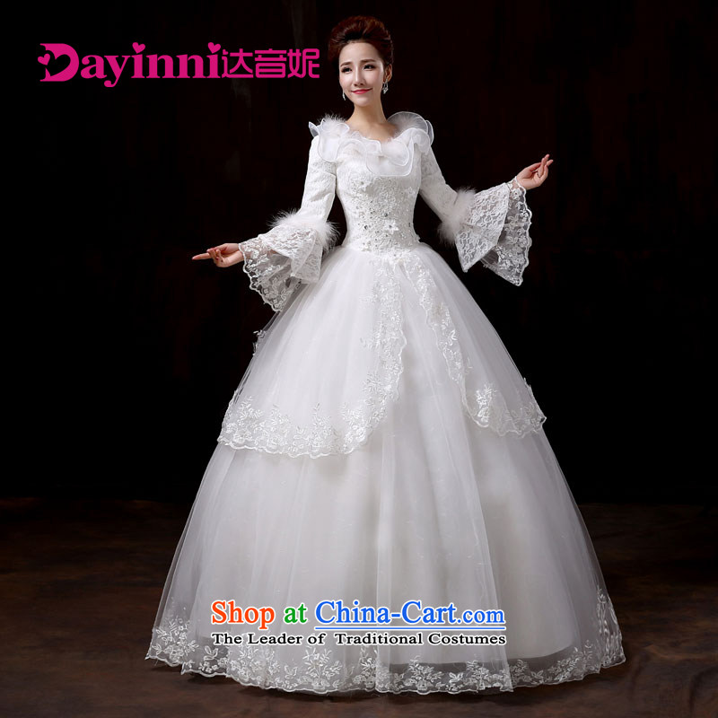 Wedding dresses new 2015 White Lace horn cuff winter, wedding Korean marriages to align the White�XL