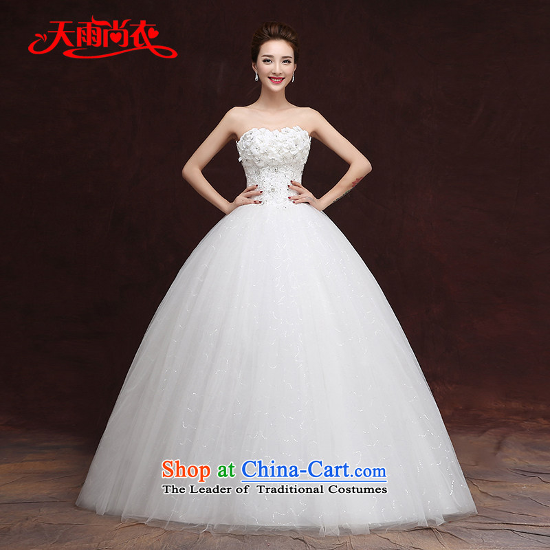 Rain-sang yi 2015 autumn and winter new bride Korean wiping the chest code Diamond Flower to align with the video   thin wedding dresses HS936 White�M
