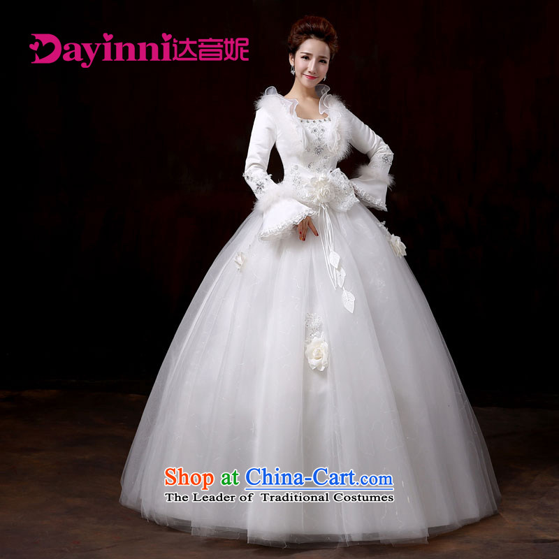 Wedding dress 2015 winter new Korean Modern graphics thin collar align to thick long-sleeved gown female white�S Bride