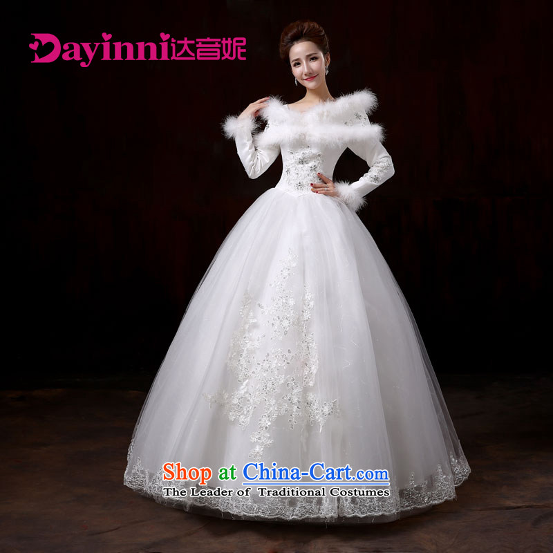 Korean 2015 new graphics wedding dresses thin white long-sleeved winter autumn and winter for the Korean version of gross white?S