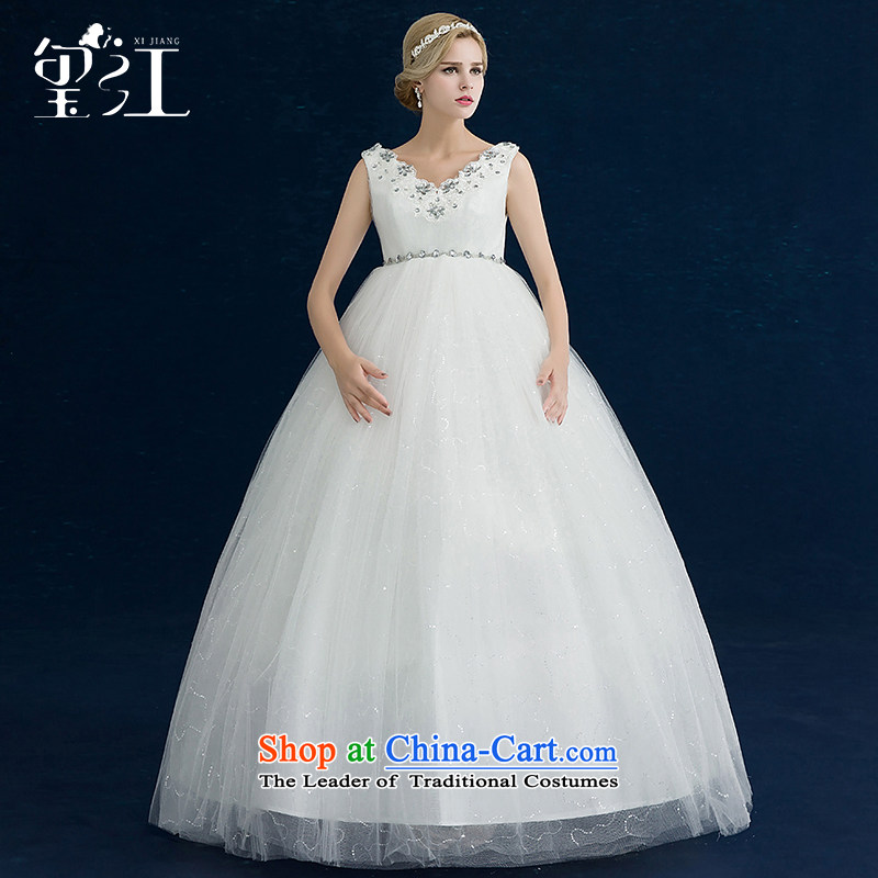 Seal Jiang pregnant women wedding dresses 2015 autumn and winter Korean shoulders to align Top Loin of large wedding video thin bride wedding dress white聽L