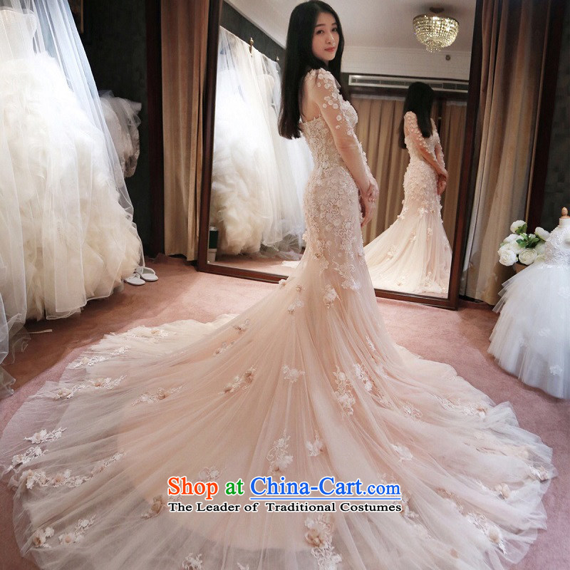 Kidman, 2015 new word of autumn and winter bride shoulder wedding champagne wiping the chest bare pink crowsfoot tail wedding�day L(7 PINK   no reason to return)