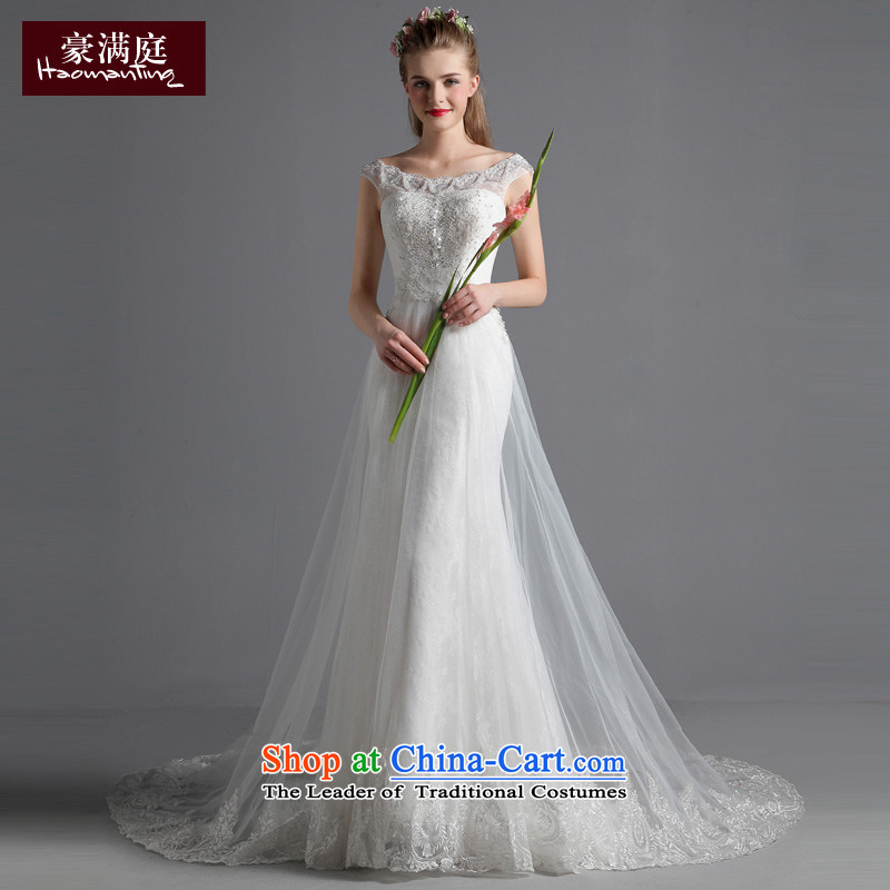 Ho full Chamber Noble and elegant wedding dresses autumn 2015 new large graphics thin bride long tail wedding slotted shoulder White?M
