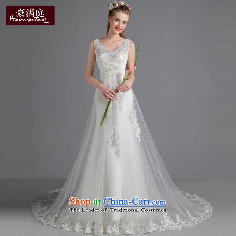 2015 Autumn new wedding dress shoulders v-neck won with minimalist Sau San wedding long tail marriages custom white?S