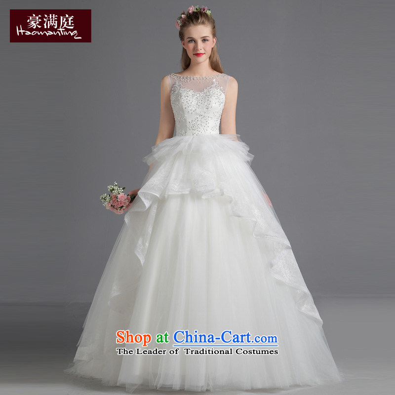 The bride wedding dresses shoulders small trailing 2015 new autumn and winter Korean style large graphics thin princess bon bon skirt wedding White?M