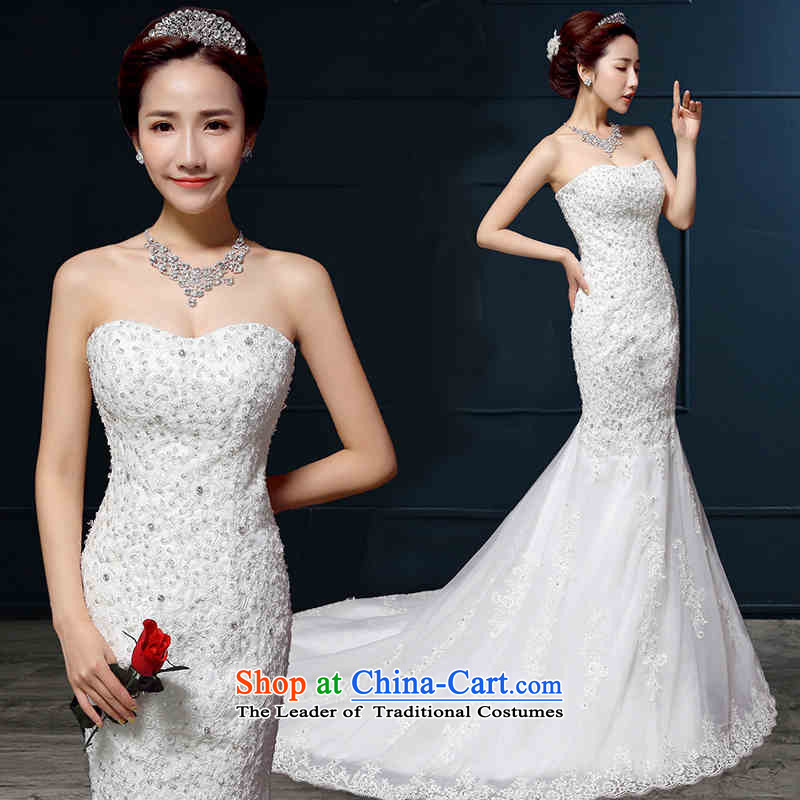 2015 Long dresses HUNNZ lace elegant anointed chest Foutune of spring and summer wedding bride Sau San White?M