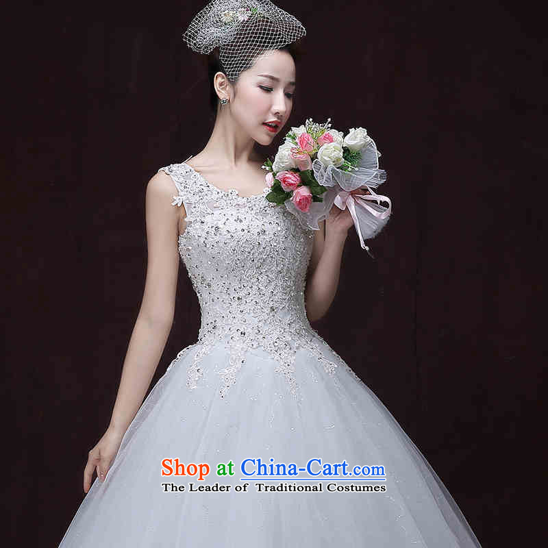 2015 Long one HUNNZ field shoulder palace replacing sleeveless shawl straps) Bride wedding white?S