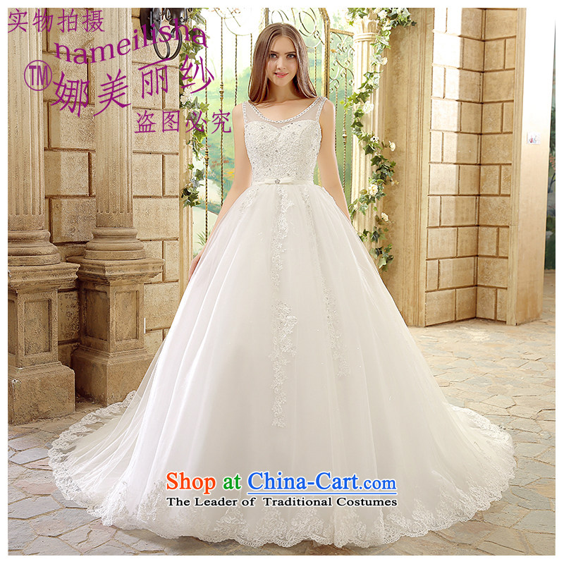 2015 new shoulders major tail Sau San wedding the beautiful yarn stylish marriages wedding band Korean style large lace video thin Factory Outlet White XL