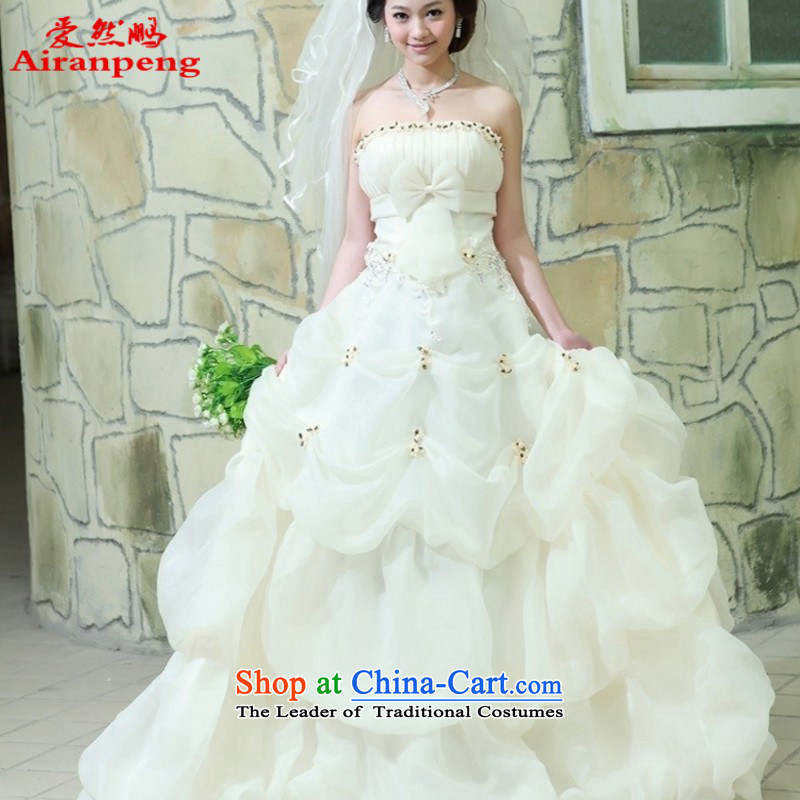 Love So peng lai Sa Fei-new wedding dress uniform tail with bows to wedding wedding photography dedicated 987M champagne color聽XXL package returning tail strap_