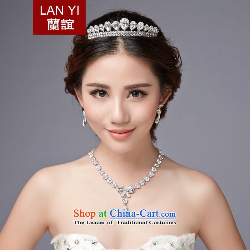 Lan-yi marriages wedding dresses accessories Korean Head Ornaments Crown necklace earrings Three Piece Accessory clip Ear Clip water drilling jewelry sets color picture