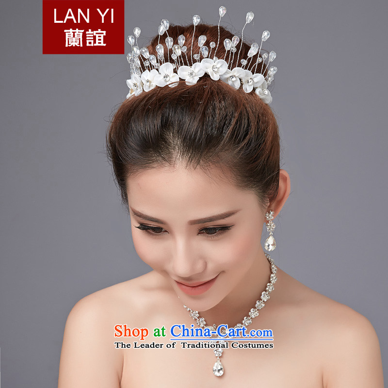 Lan-yi marriages jewelry autumn new Korean wedding dresses accessories Head Ornaments Crown necklace earrings three piece Ear Clip earrings kit autumn new