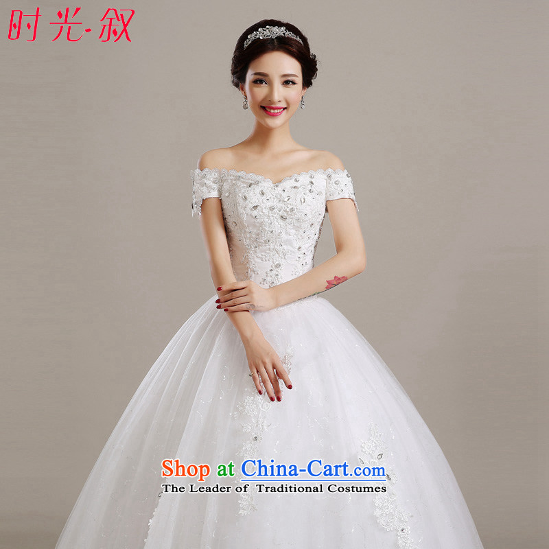 Time the?new 2015 Syria at the stylish wedding dresses autumn and winter field shoulder graphics large bride thin to align the wedding dress tail_?S