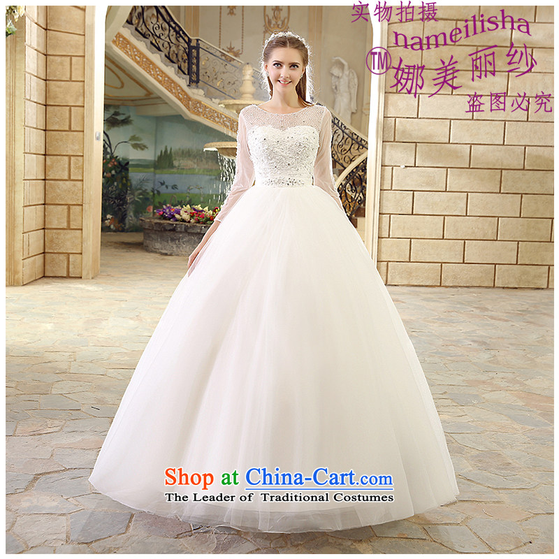 The beautiful yarn shoulders to align A Swing Wedding Fashion Sau San marriages wedding band video hand-thin Stitch pearl sexy back 2015 New White XXXL