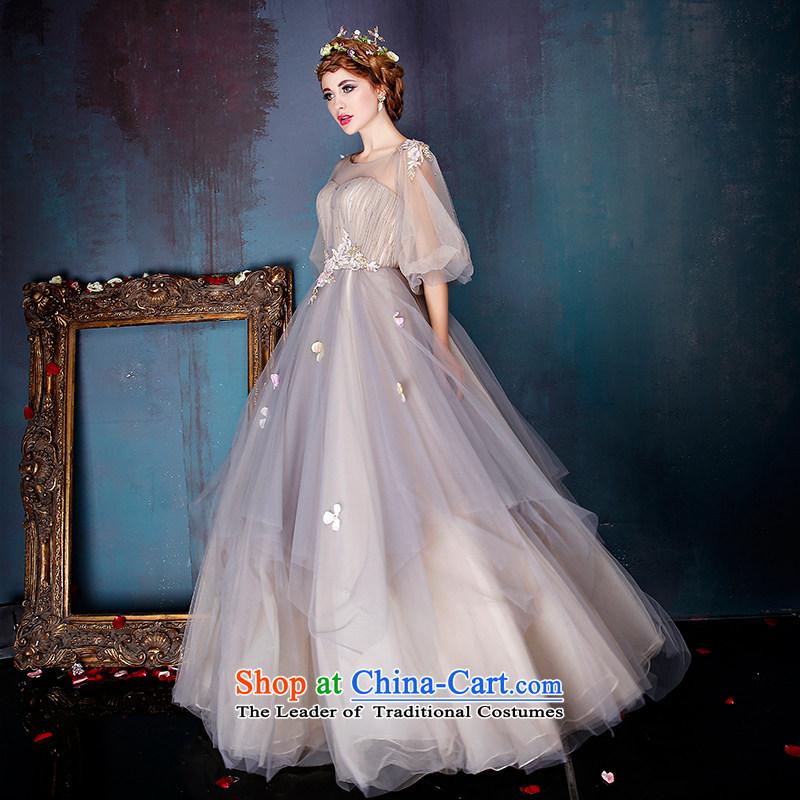 Sin Sin Kai edge wedding dresses Summer 2015 New banquet long evening dress skirt painting a Flower Fairies  will light gray?S