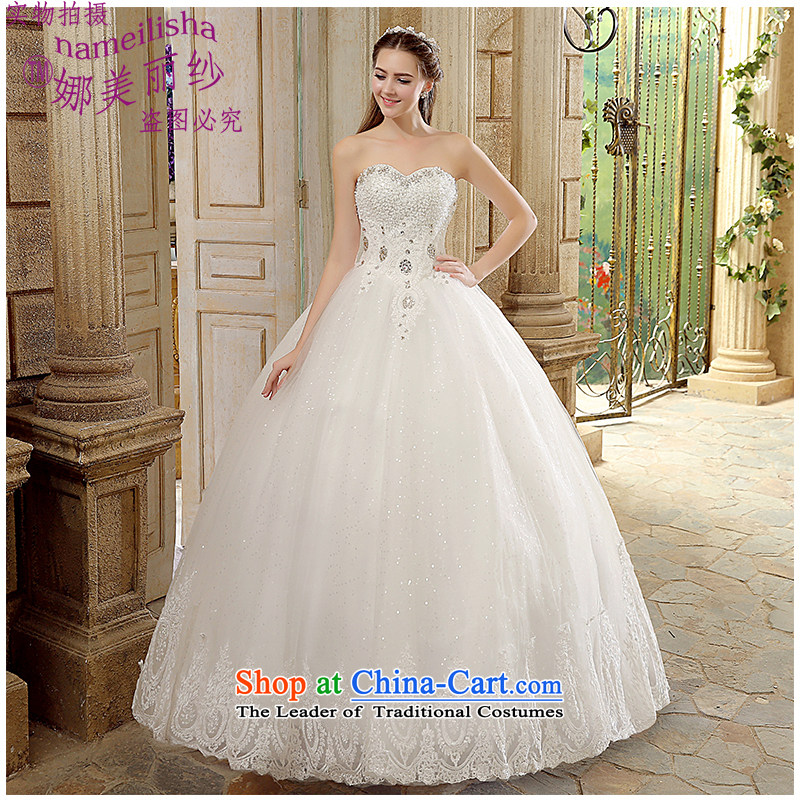 The beautiful yarn and chest to court wedding hand drill with luxury brides Sau San wedding wedding lace strap video thin and the Factory Outlets New Package Mail White XL