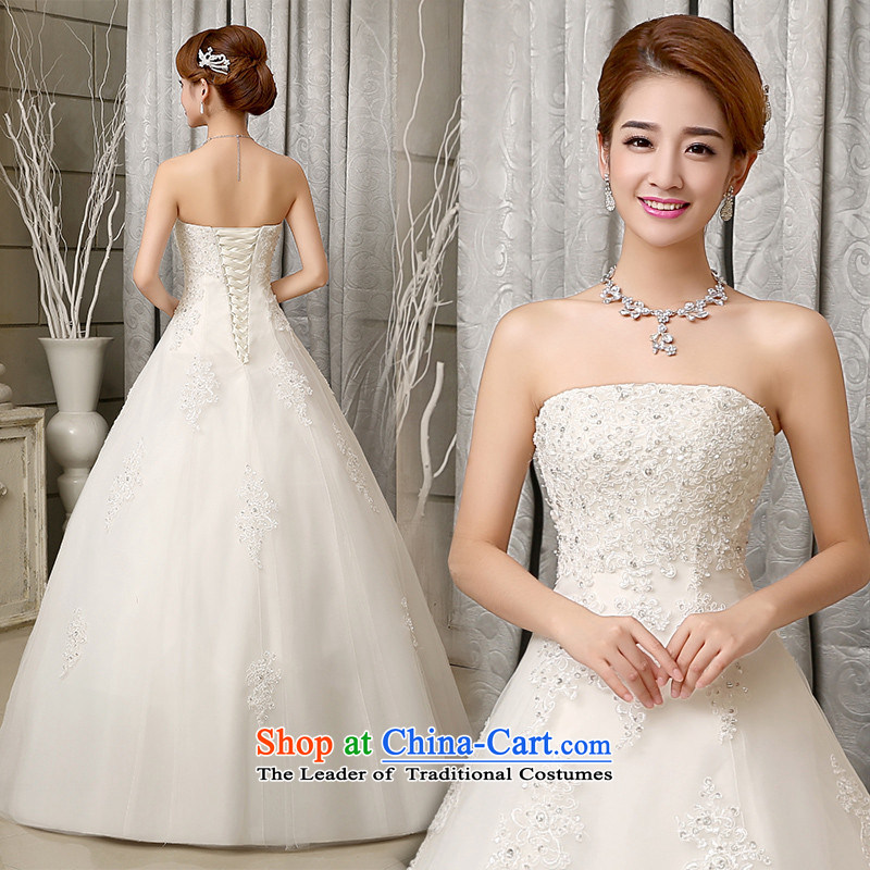 2015 Long White HUNNZ bon bon skirts and chest Korean back sleeveless minimalist bride wedding white�S