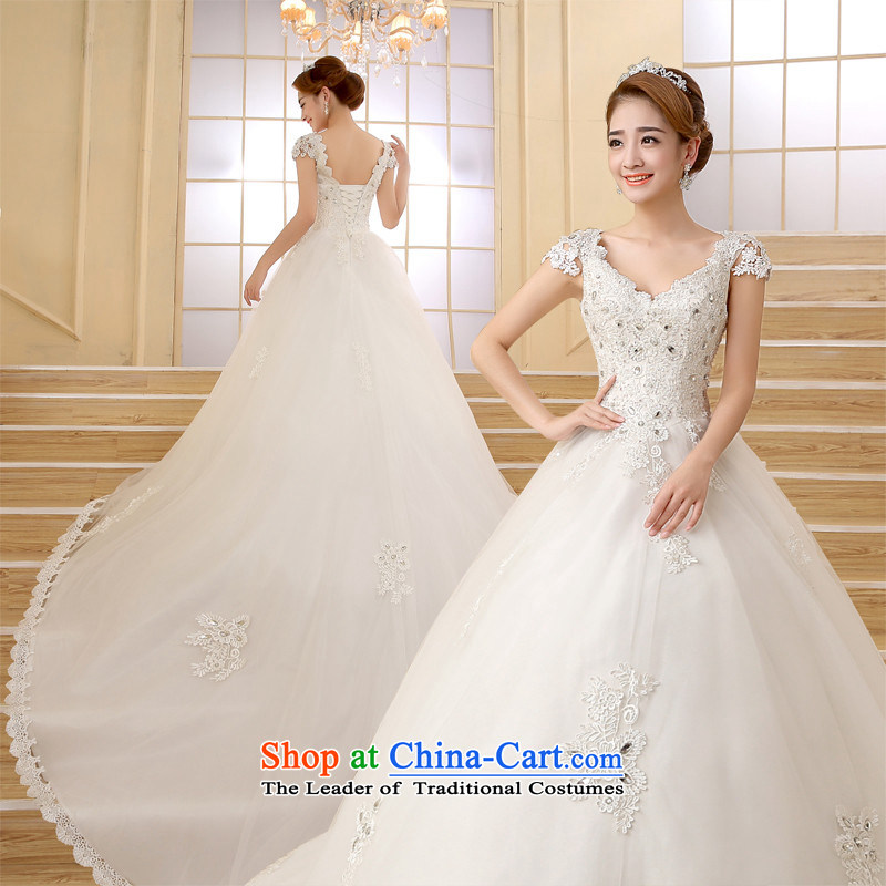 The new 2015 HANNIZI spring and summer stylish lace large long tail strap word shoulder wedding bride white?L