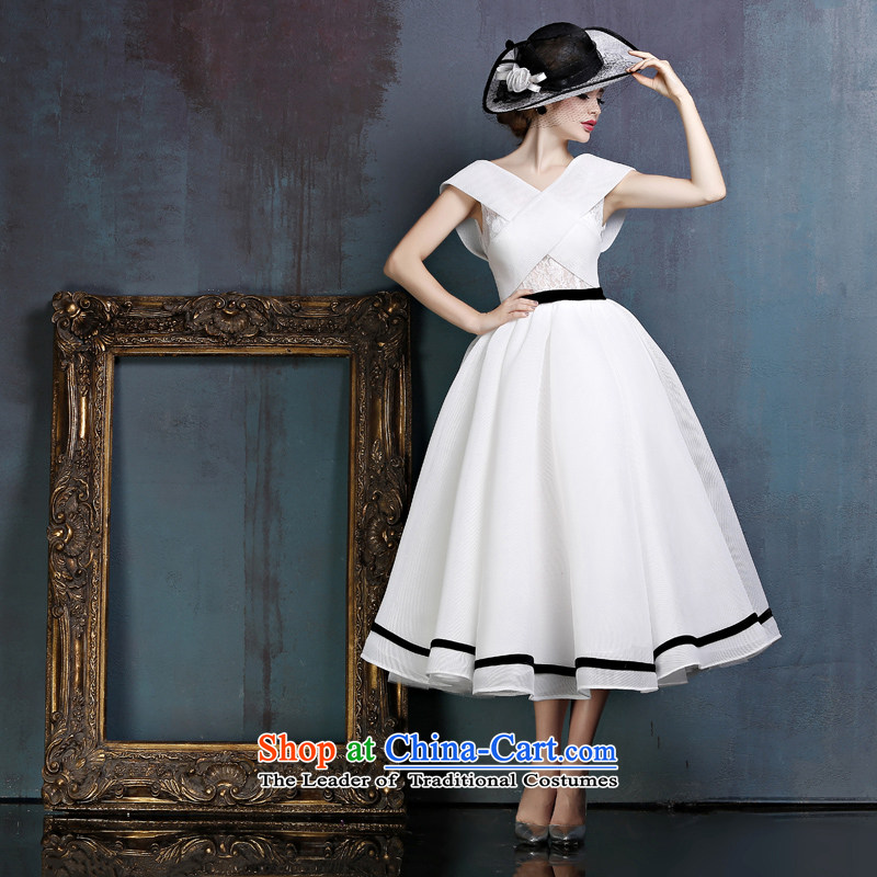 Sin Sin Kai edge bride banquet evening dresses 2015 European site new retro shoulders in long stage performance services tailored White
